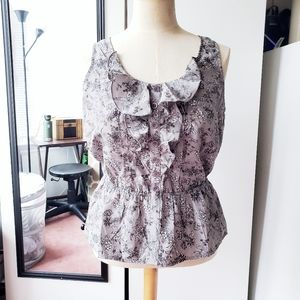 Imaginary Voyage   Sleeveless Floral Blouse (L)